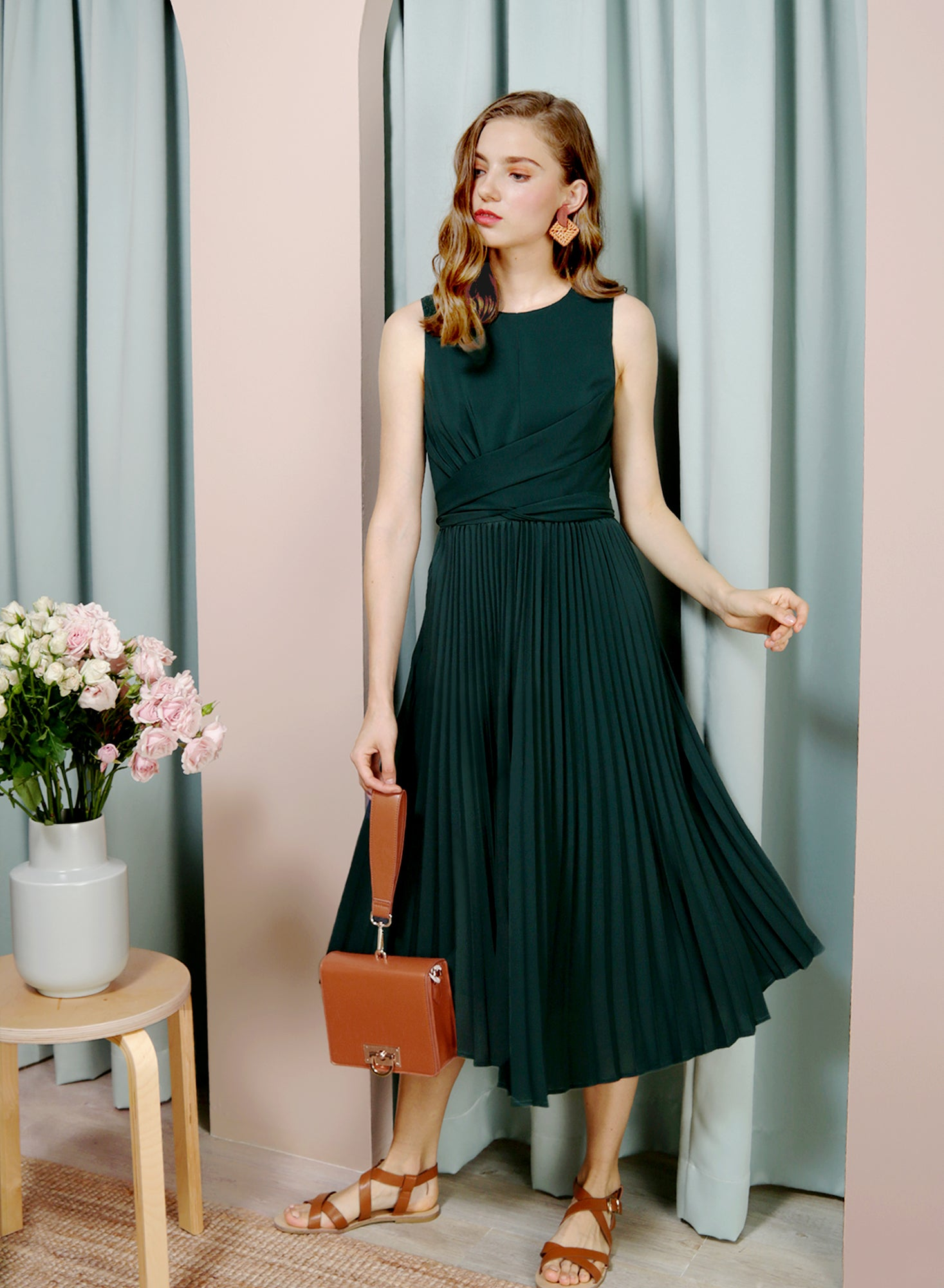 DIVINE Wrap Front Pleated Dress (Forest) - And Well Dressed