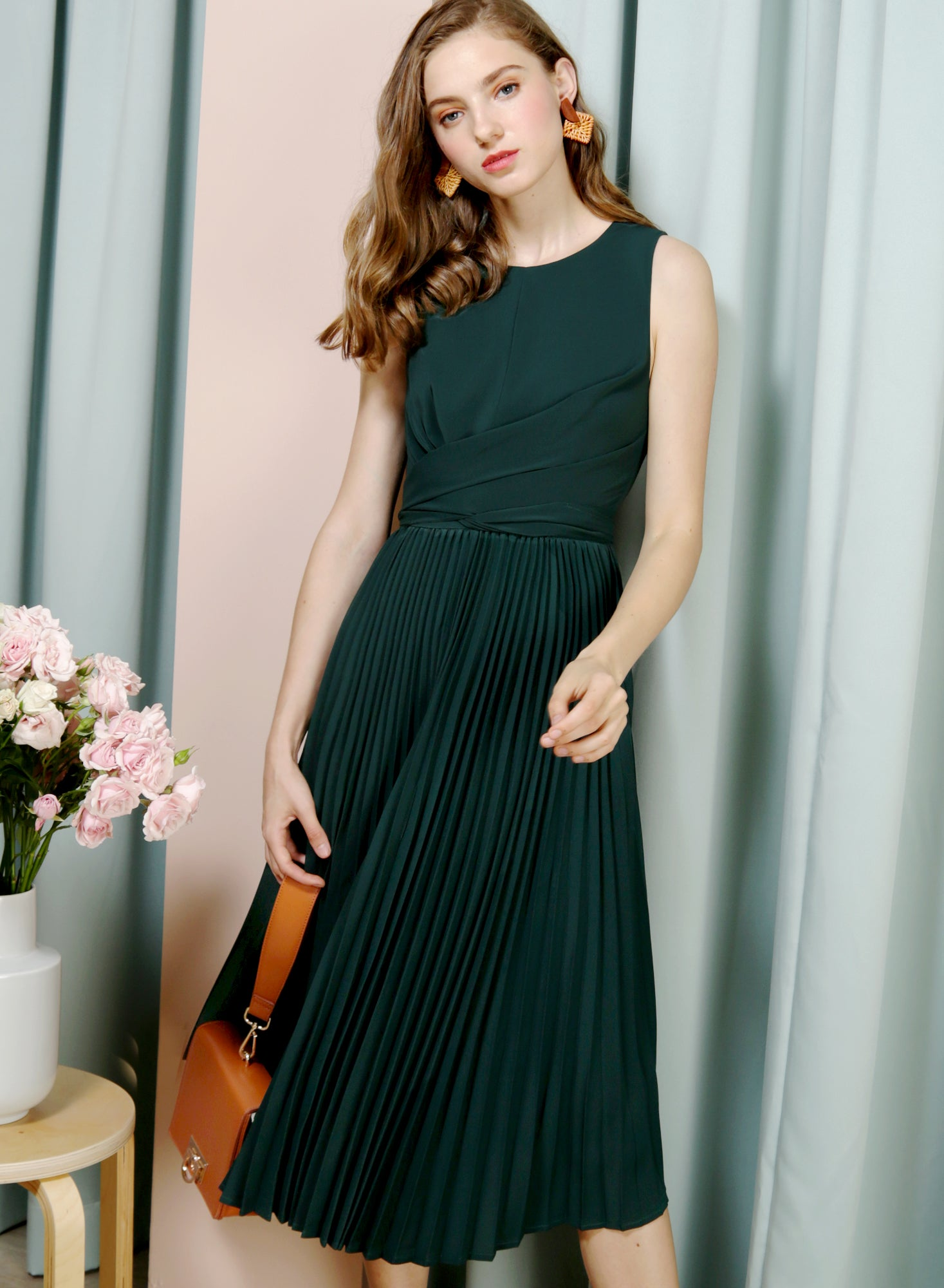 DIVINE Wrap Front Pleated Dress (Forest) at $ 46.50 only sold at And Well Dressed Online Fashion Store Singapore