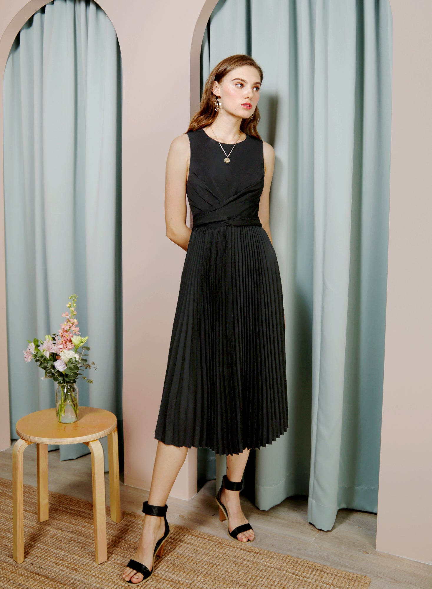 DIVINE Wrap Front Pleated Dress (Black) at $ 46.50 only sold at And Well Dressed Online Fashion Store Singapore