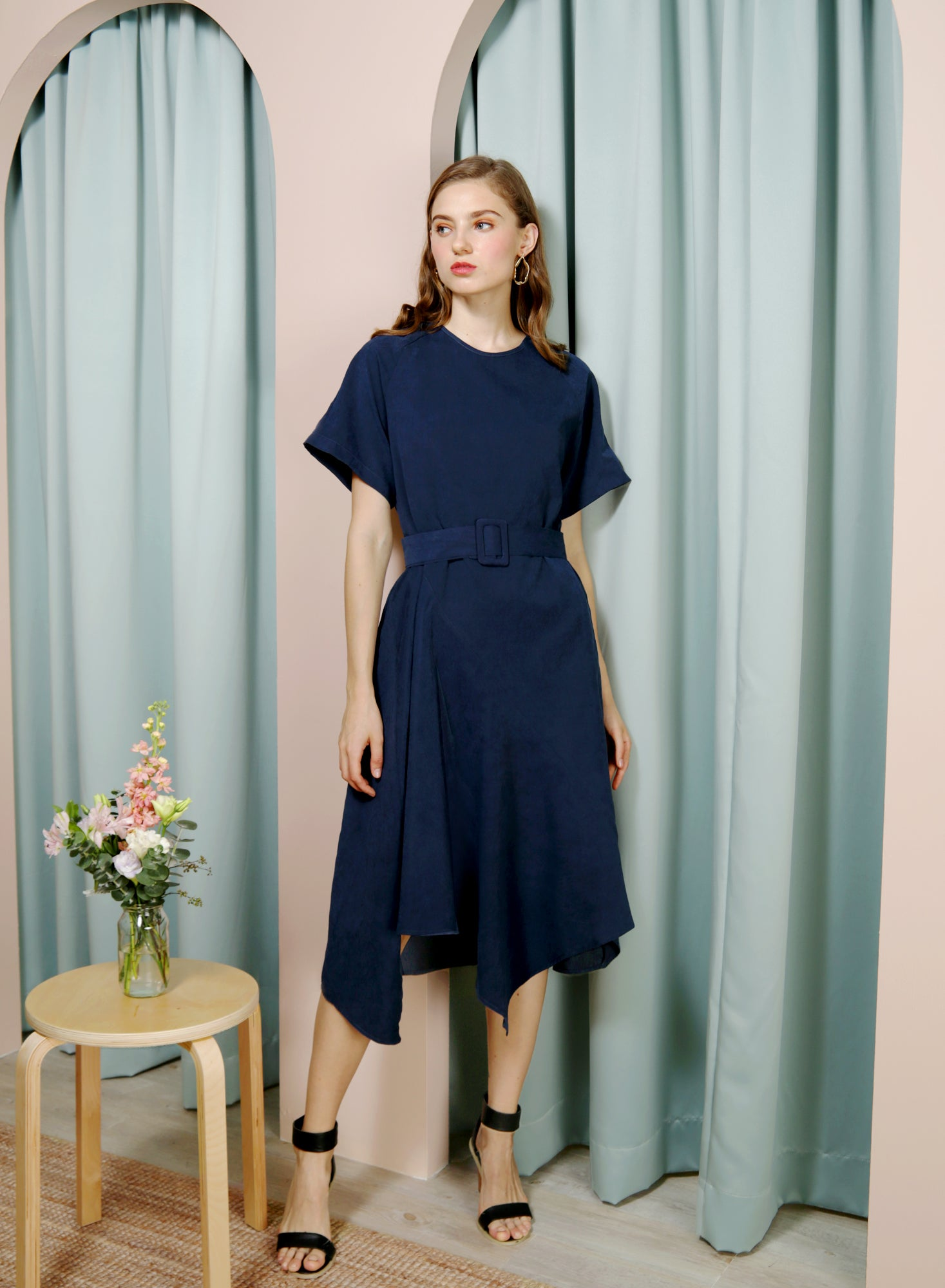 Tangent Asymmetric Hem Faux Suede Dress (Navy)