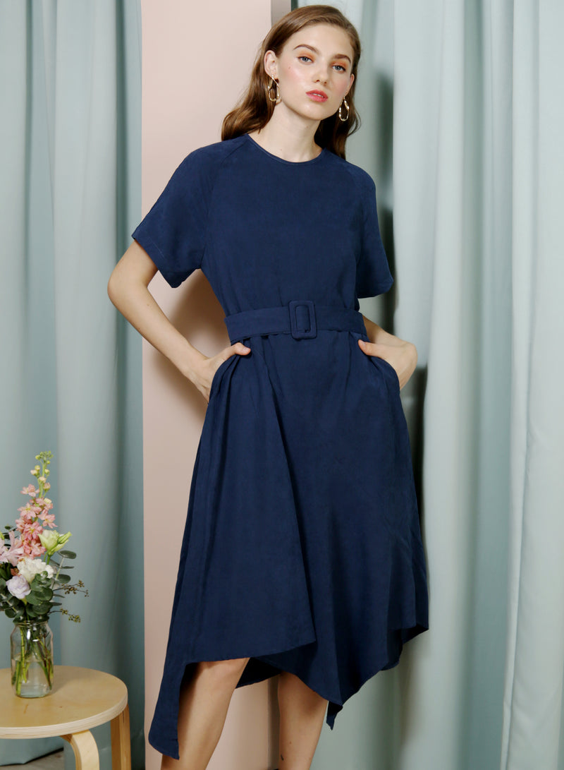 Tangent Asymmetric Hem Faux Suede Dress (Navy) - And Well Dressed