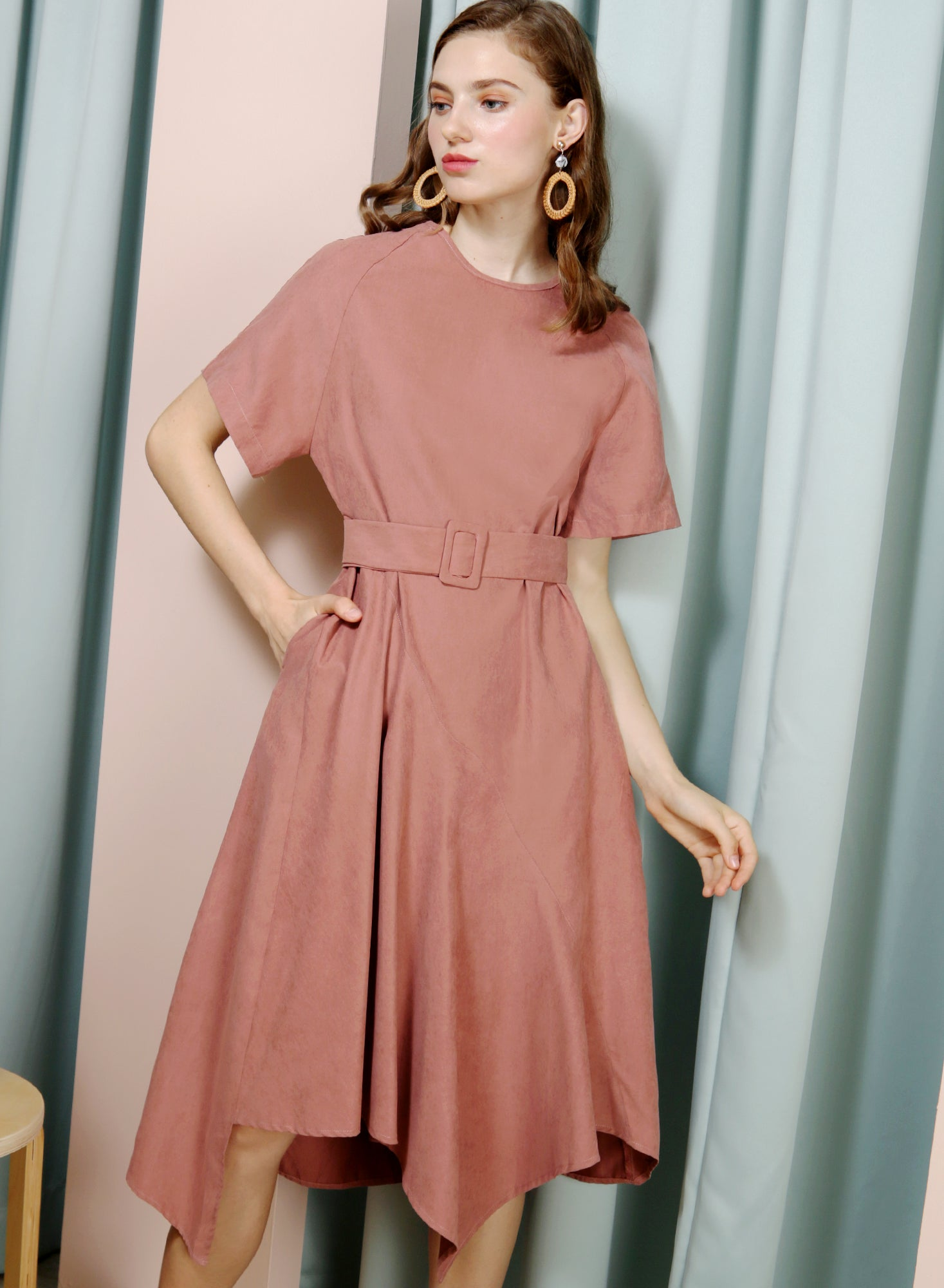 Tangent Asymmetric Hem Faux Suede Dress (Dusty Rose) at $ 41.50 only sold at And Well Dressed Online Fashion Store Singapore