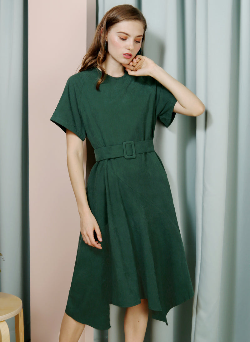 Tangent Asymmetric Hem Faux Suede Dress (Forest) at $ 41.50 only sold at And Well Dressed Online Fashion Store Singapore