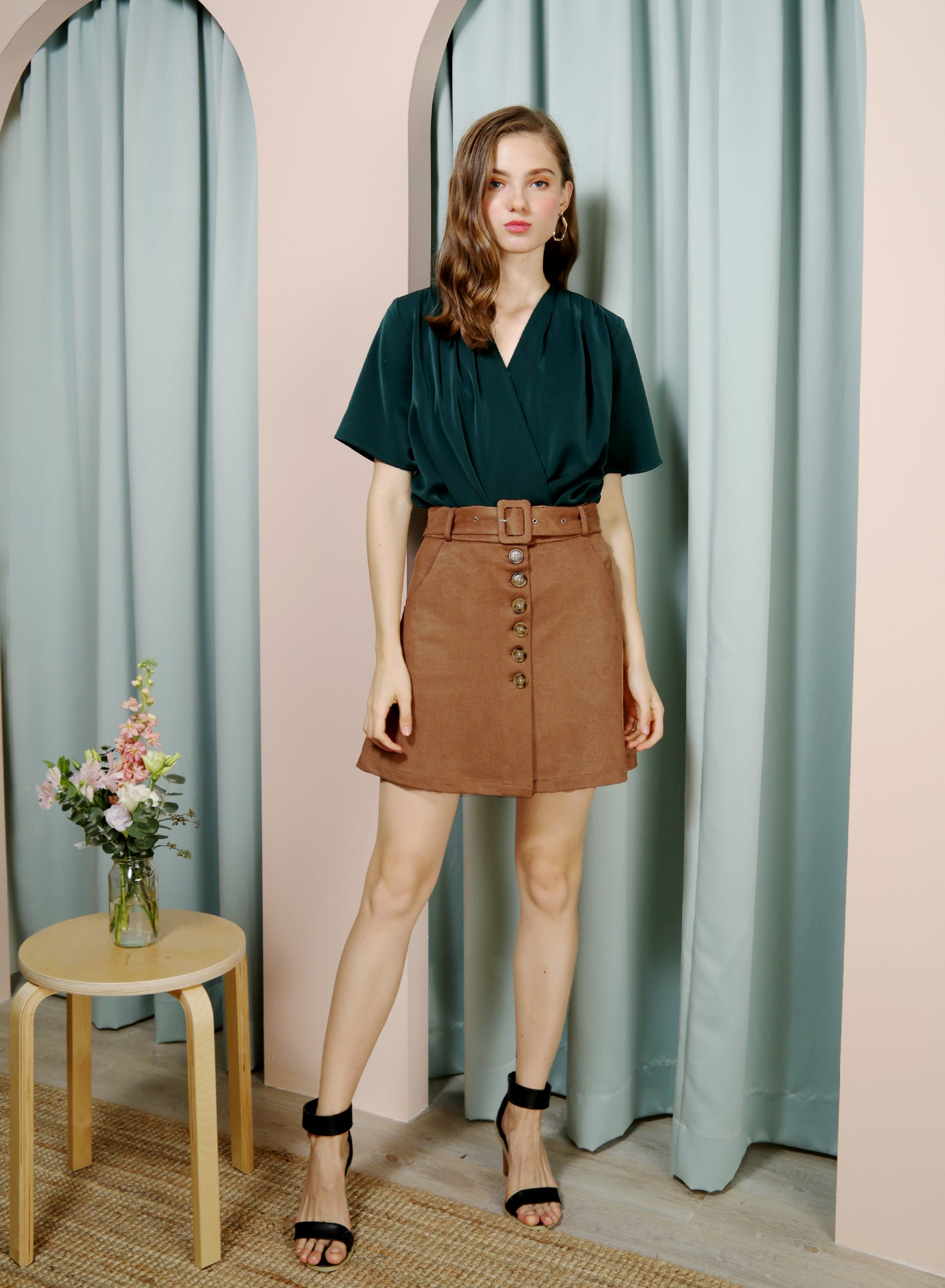 HOPE Button Front Suede Skirt (Mocha)