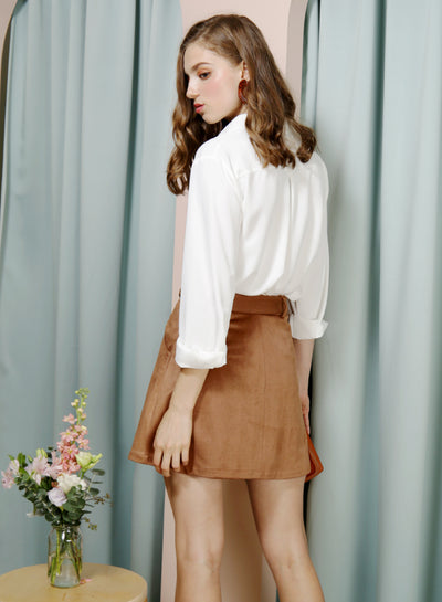 HOPE Button Front Suede Skirt (Mocha) at $ 38.00 only sold at And Well Dressed Online Fashion Store Singapore