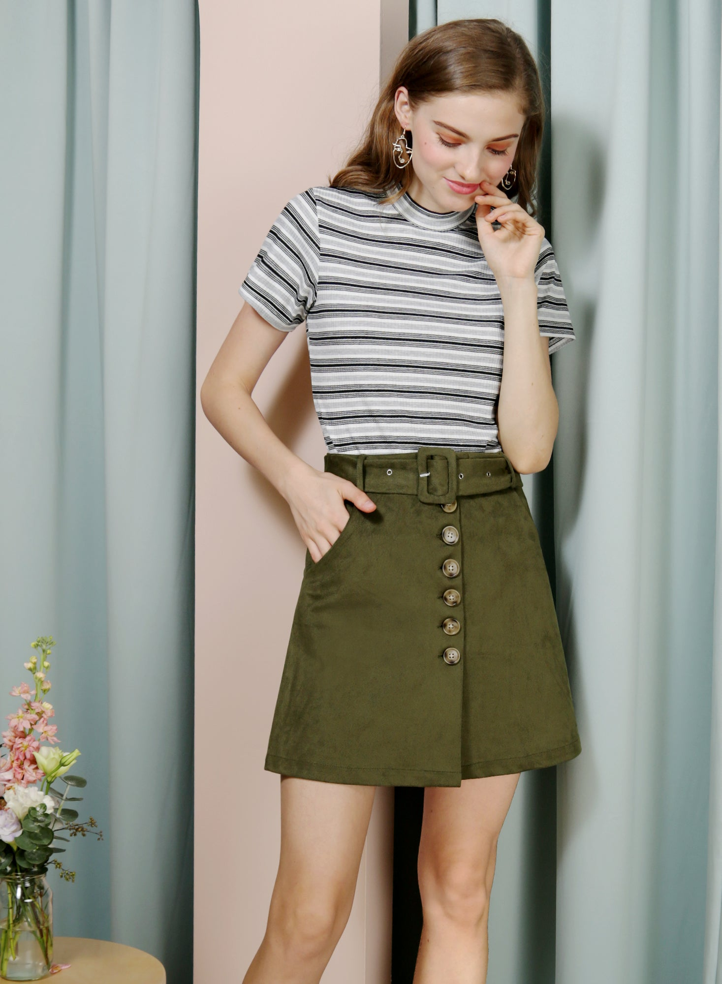HOPE Button Front Suede Skirt (Olive)