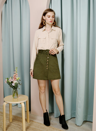 HOPE Button Front Suede Skirt (Olive) at $ 38.00 only sold at And Well Dressed Online Fashion Store Singapore