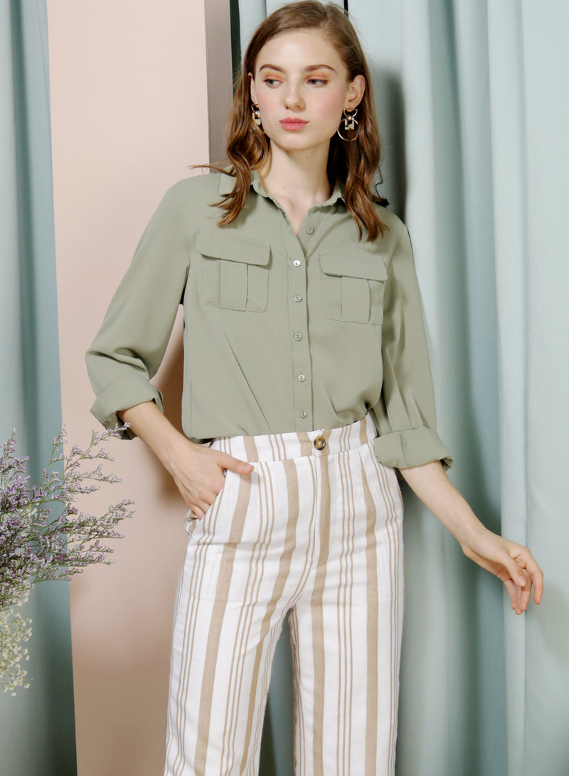 WAFT Double Pocket Shirt (Sage) at $ 36.00 only sold at And Well Dressed Online Fashion Store Singapore