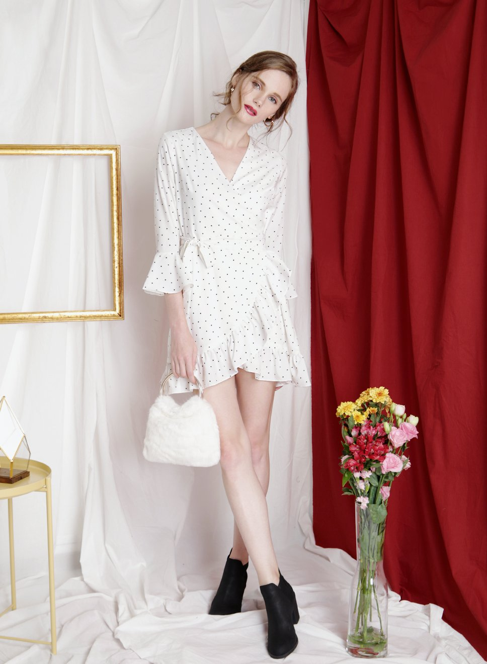 INFINITE Ruffle Wrap Dress (White) - And Well Dressed