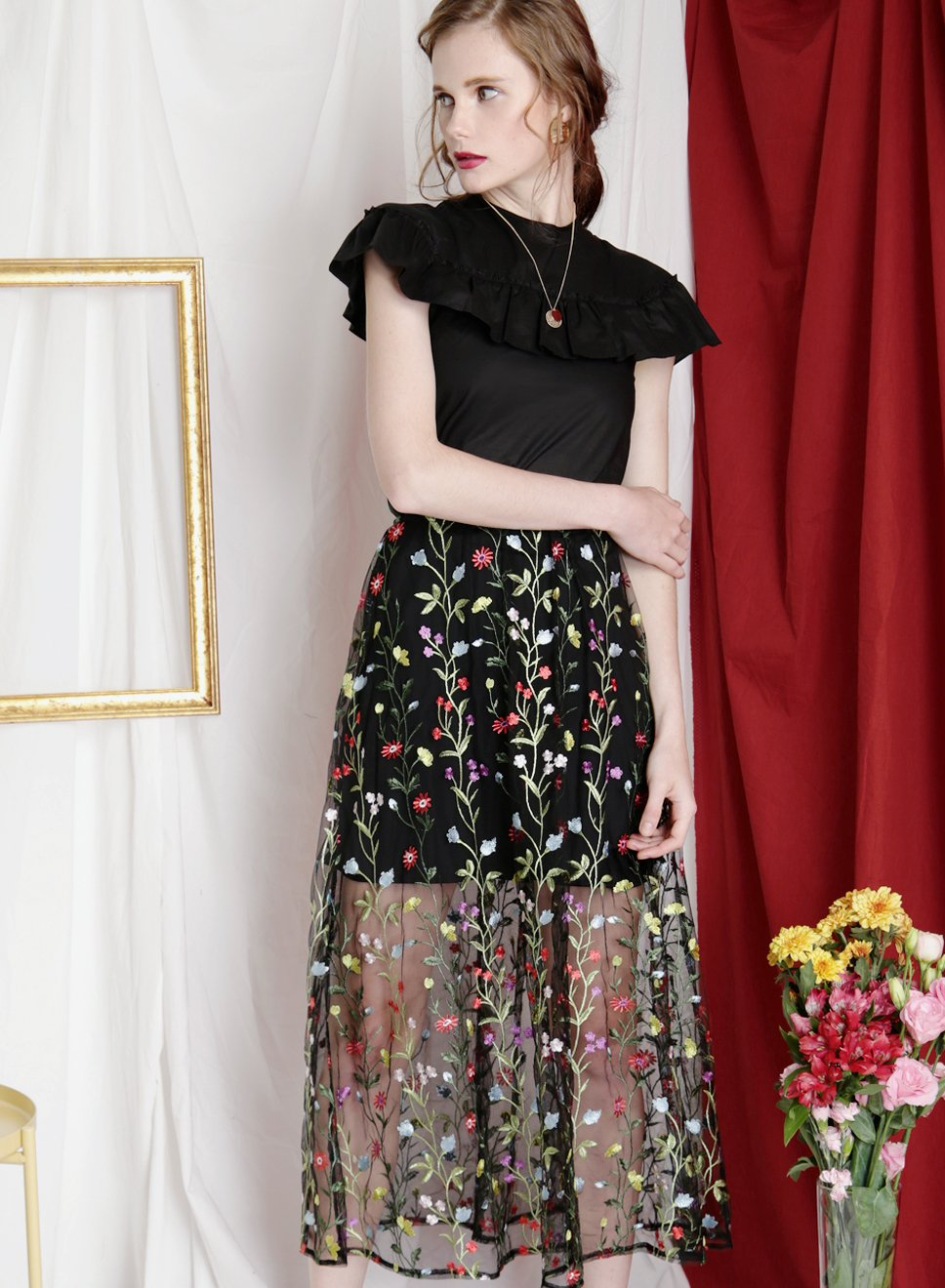 GLIMMER Embroidered Mesh Skirt (Black) at $ 28.50 only sold at And Well Dressed Online Fashion Store Singapore
