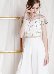 PRISM Embroidered Mesh Top (White) at $ 35.00 only sold at And Well Dressed Online Fashion Store Singapore