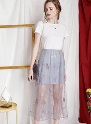 GLIMMER Embroidered Mesh Skirt (Grey) at $ 22.80 only sold at And Well Dressed Online Fashion Store Singapore