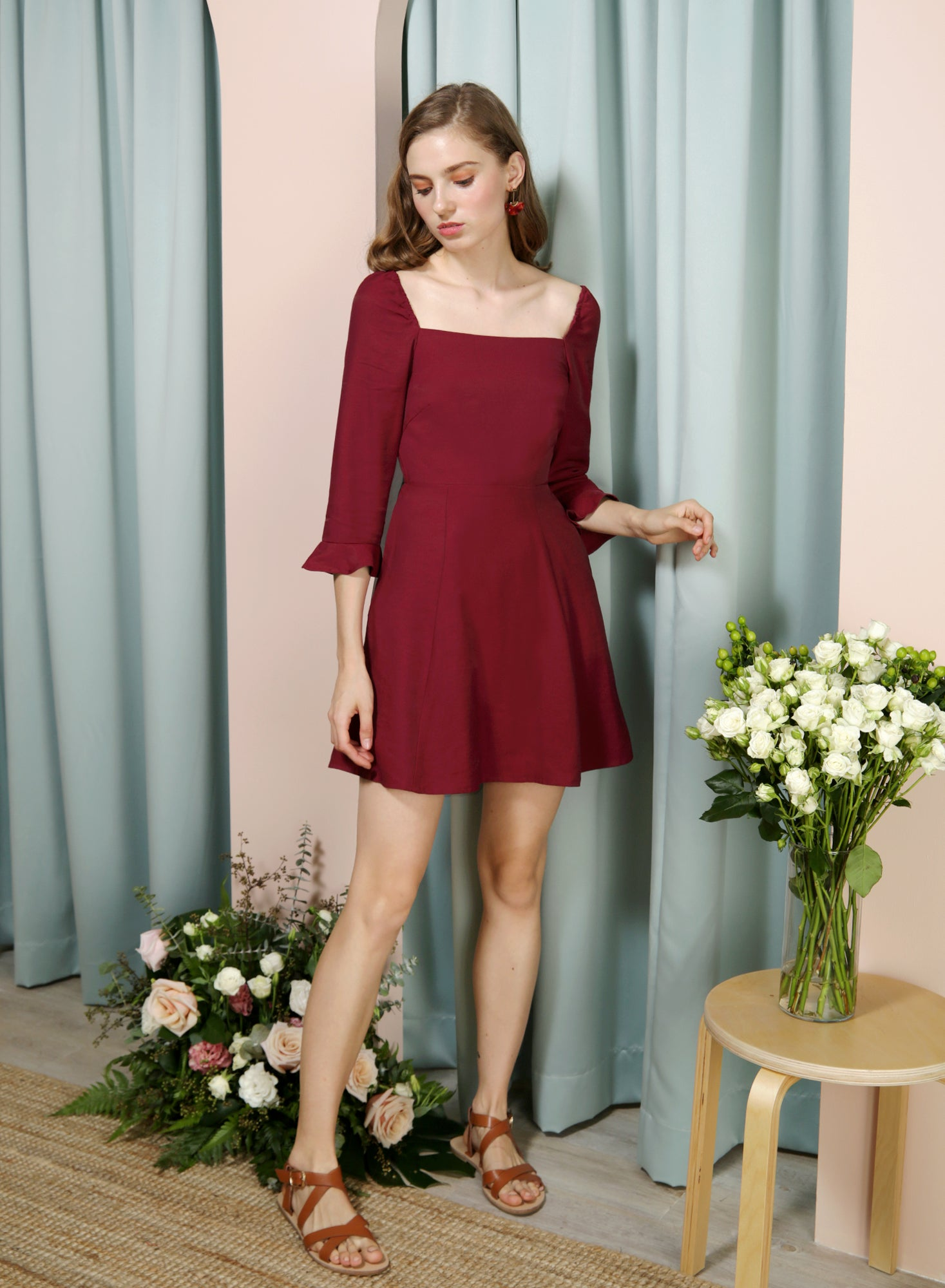 JOYOUS Square Neckline Dress (Wine) at $ 39.90 only sold at And Well Dressed Online Fashion Store Singapore