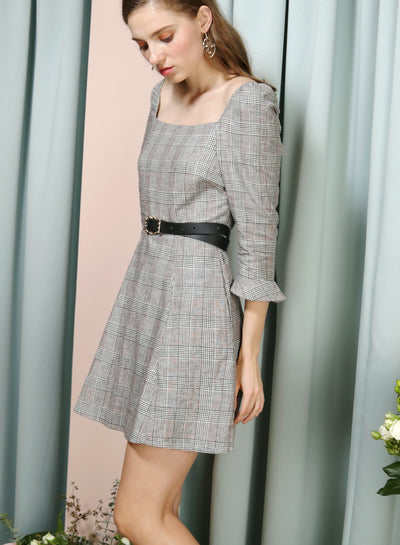 JOYOUS Square Neckline Dress (B/W Checks) at $ 39.90 only sold at And Well Dressed Online Fashion Store Singapore