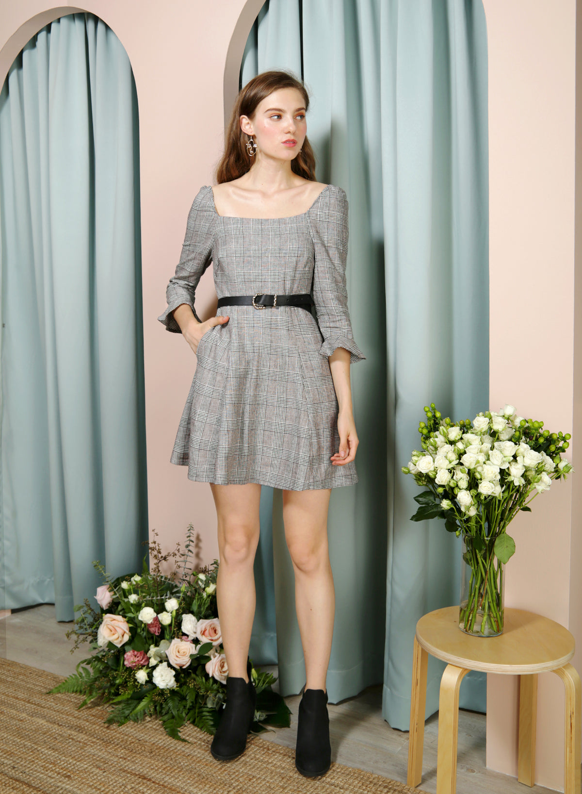 JOYOUS Square Neckline Dress (B/W Checks) - And Well Dressed