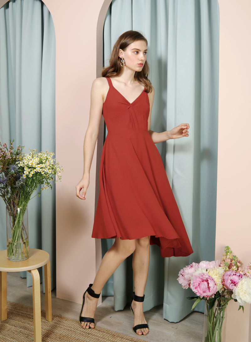 ELATE Twist Front Asymmetric Dress (Rust) at $ 43.50 only sold at And Well Dressed Online Fashion Store Singapore