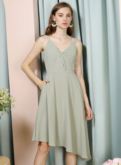 ELATE Twist Front Asymmetric Dress (Sage) at $ 43.50 only sold at And Well Dressed Online Fashion Store Singapore