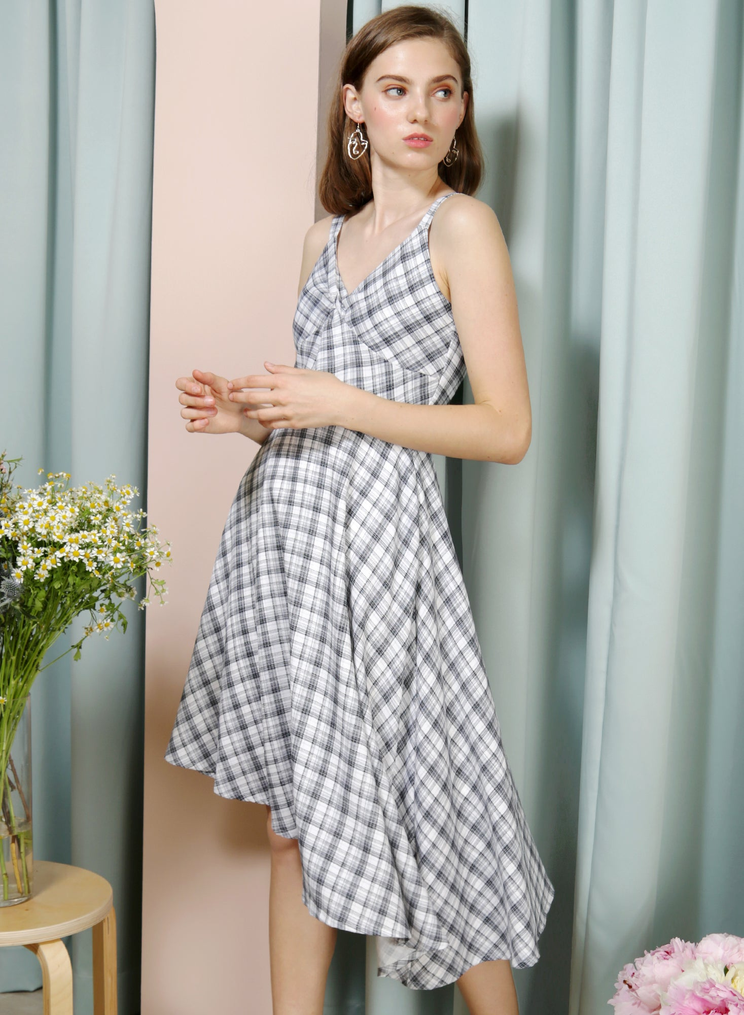 ELATE Twist Front Asymmetric Dress (Checks) - And Well Dressed