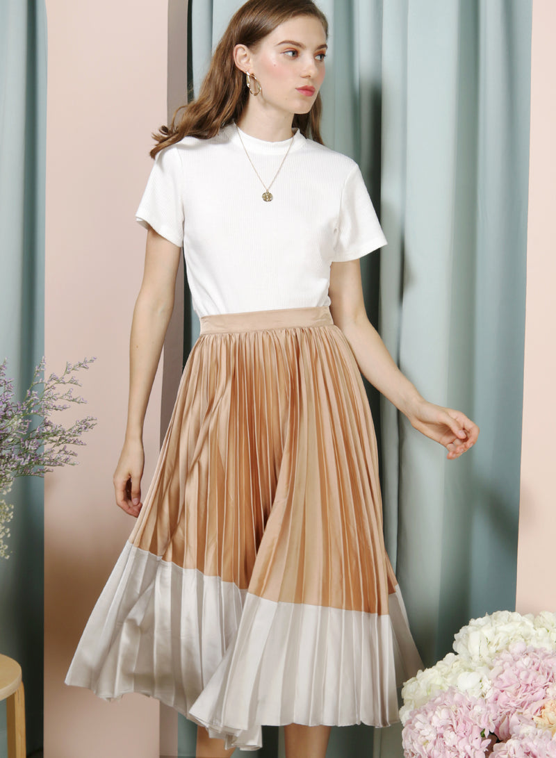 Carousel Duo Tone Pleated Skirt (Gold/Silver) at $ 38.50 only sold at And Well Dressed Online Fashion Store Singapore