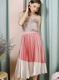 Carousel Duo Tone Pleated Skirt (Rose/Silver) at $ 38.50 only sold at And Well Dressed Online Fashion Store Singapore