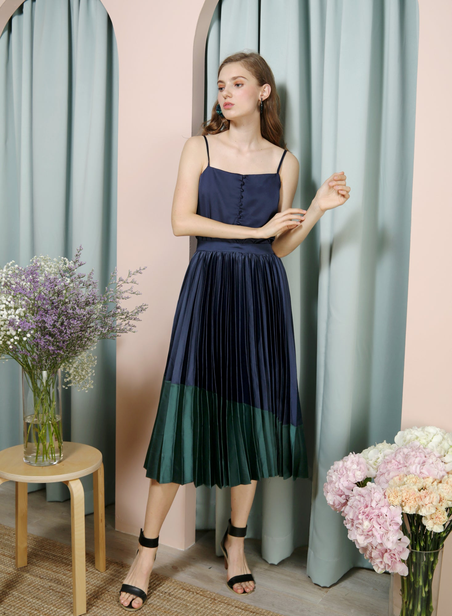 Carousel Duo Tone Pleated Skirt (Navy/Forest) at $ 38.50 only sold at And Well Dressed Online Fashion Store Singapore