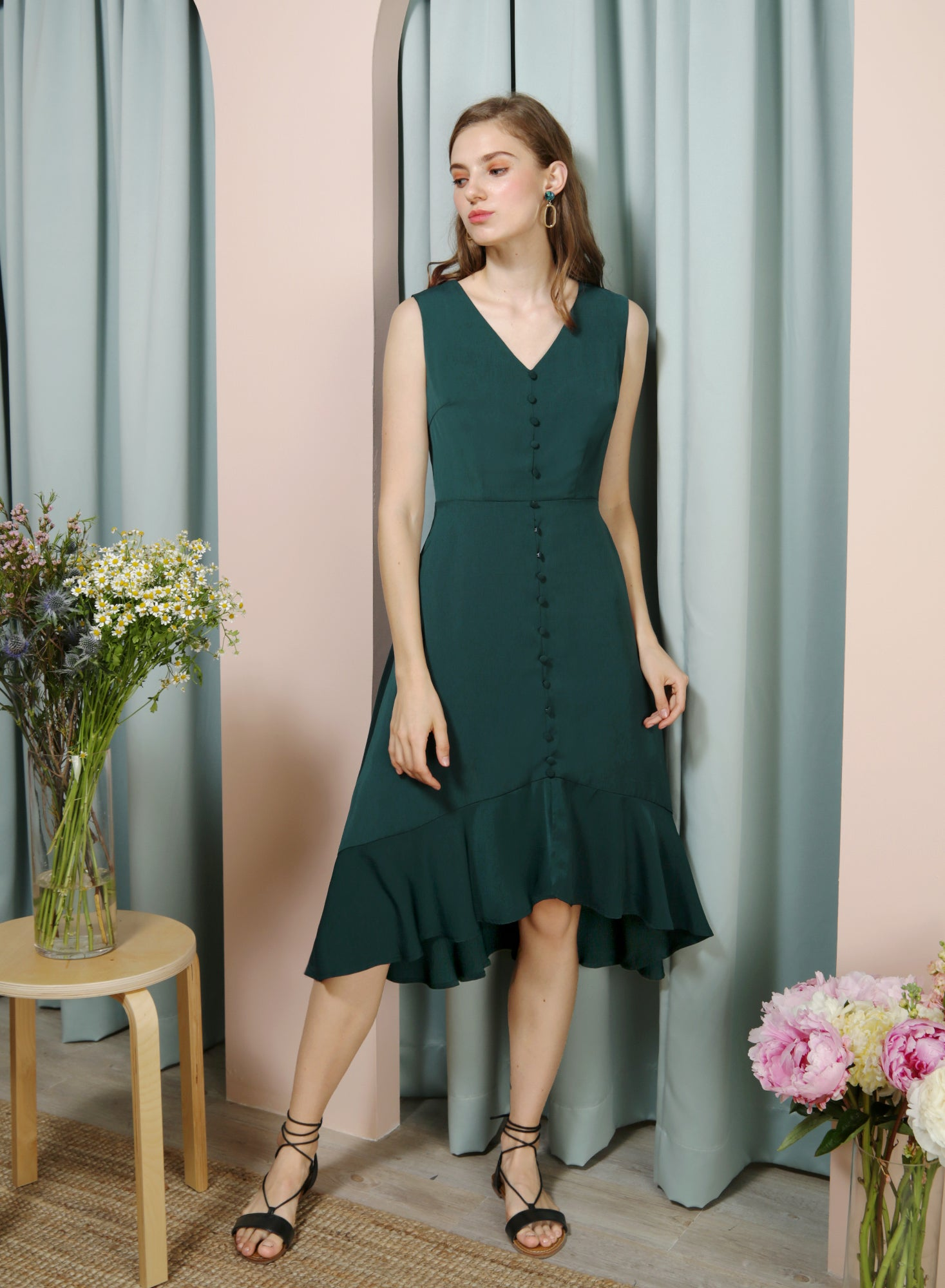 THRILL Faux Button Drop Hem Dress (Forest) - And Well Dressed