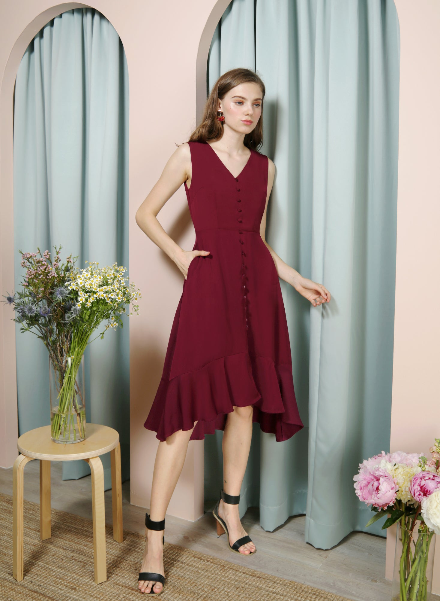 THRILL Faux Button Drop Hem Dress (Wine) at $ 42.50 only sold at And Well Dressed Online Fashion Store Singapore