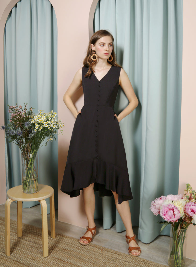THRILL Faux Button Drop Hem Dress (Black) at $ 42.50 only sold at And Well Dressed Online Fashion Store Singapore