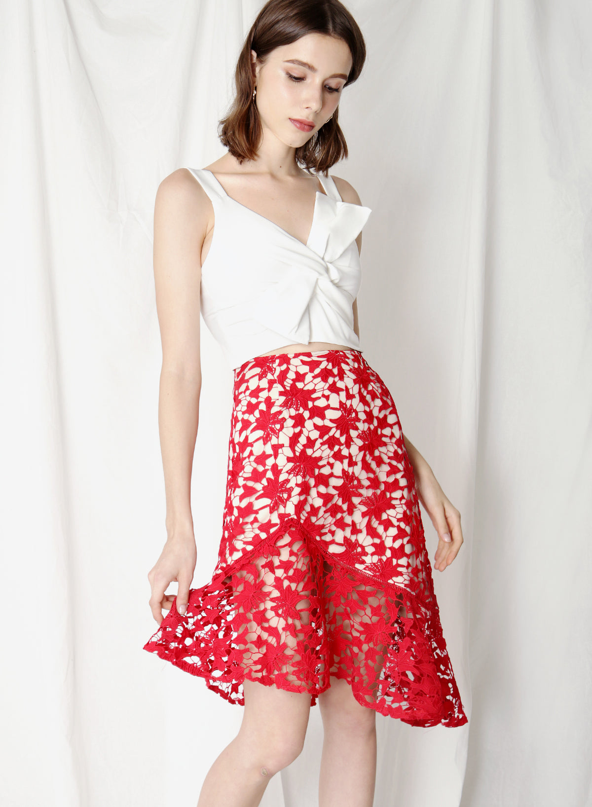 Oath Crochet Lace Skirt (Poppy) at $ 38.00 only sold at And Well Dressed Online Fashion Store Singapore