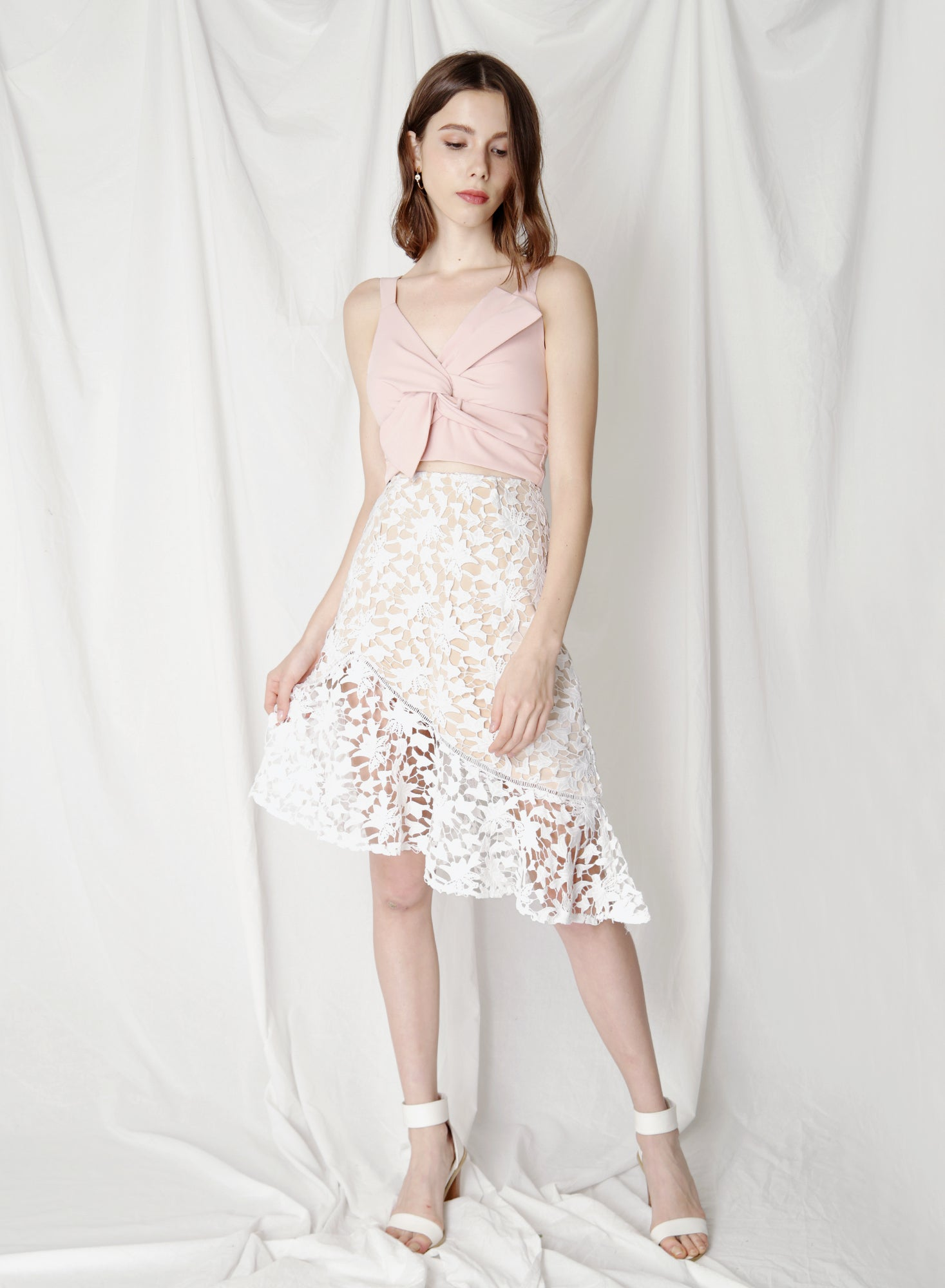 Oath Crochet Lace Skirt (White) at $ 38.50 only sold at And Well Dressed Online Fashion Store Singapore