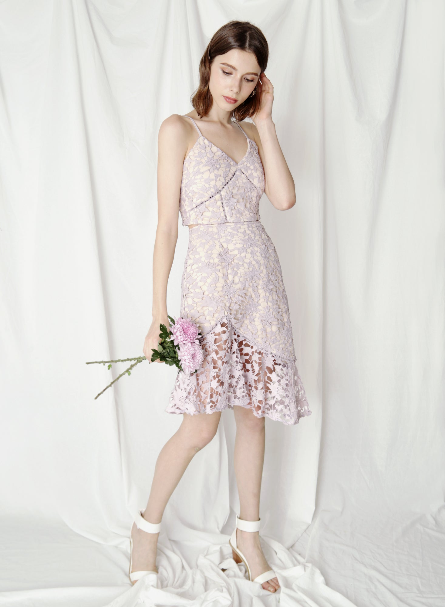 Oath Crochet Lace Skirt (Lilac) at $ 38.50 only sold at And Well Dressed Online Fashion Store Singapore