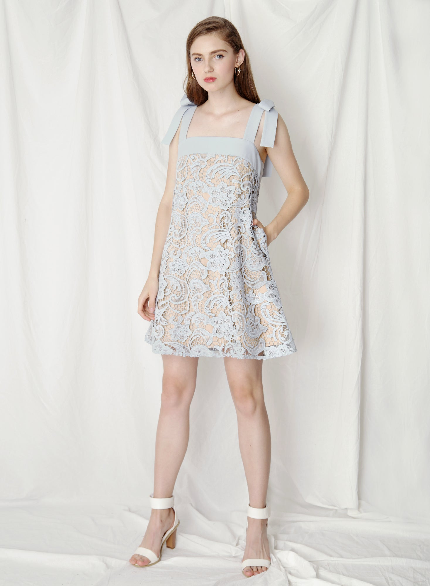 Utopia Ribbon Tie Flare Dress (Dusk Blue) at $41.50 only sold at And Well Dressed Online Fashion Store Singapore
