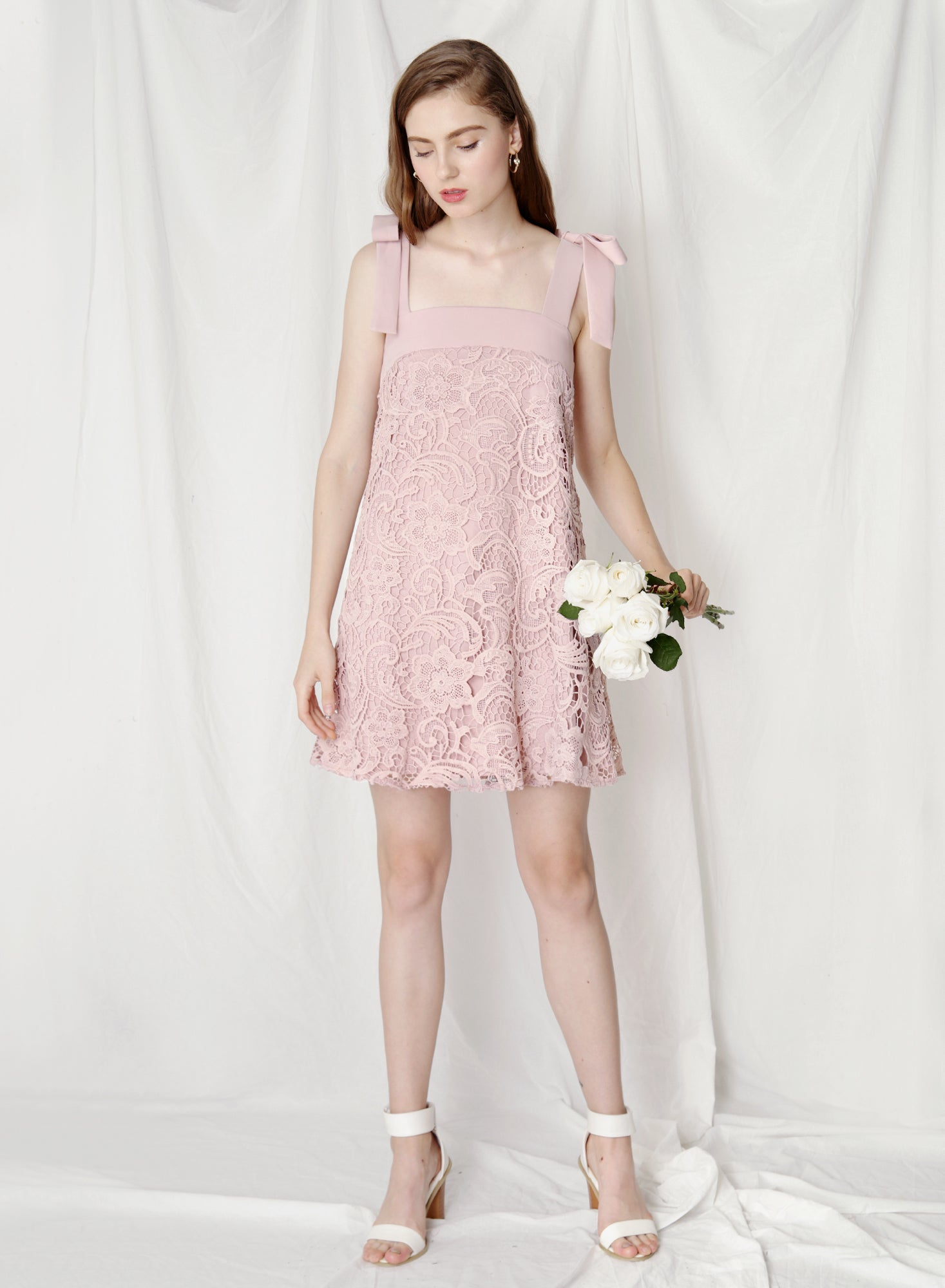 Utopia Ribbon Tie Flare Dress (Mauve) at $41.50 only sold at And Well Dressed Online Fashion Store Singapore