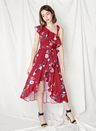 Bespoke Ruffled Floral Maxi Dress (Cherry) at $43.50 only sold at And Well Dressed Online Fashion Store Singapore
