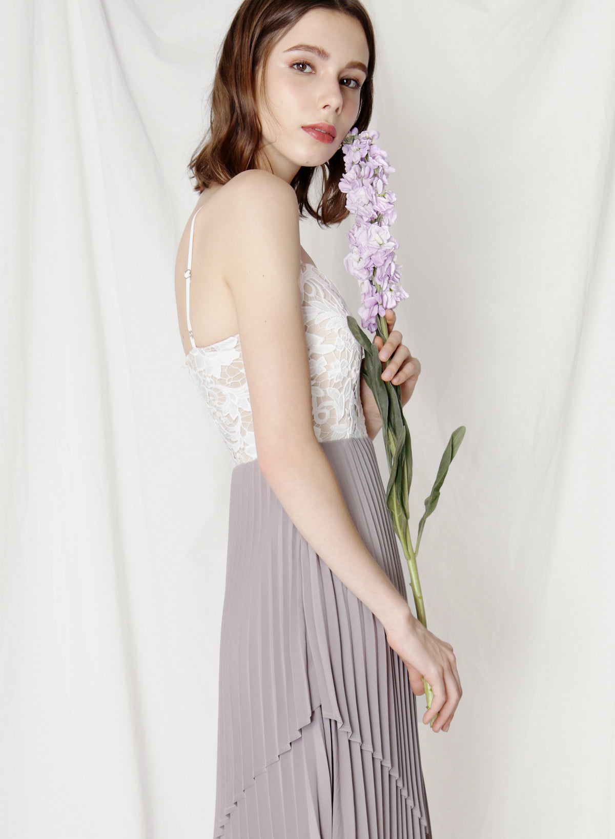 Finesse Uneven Pleats Dress (Lilac Grey) at $ 44.50 only sold at And Well Dressed Online Fashion Store Singapore