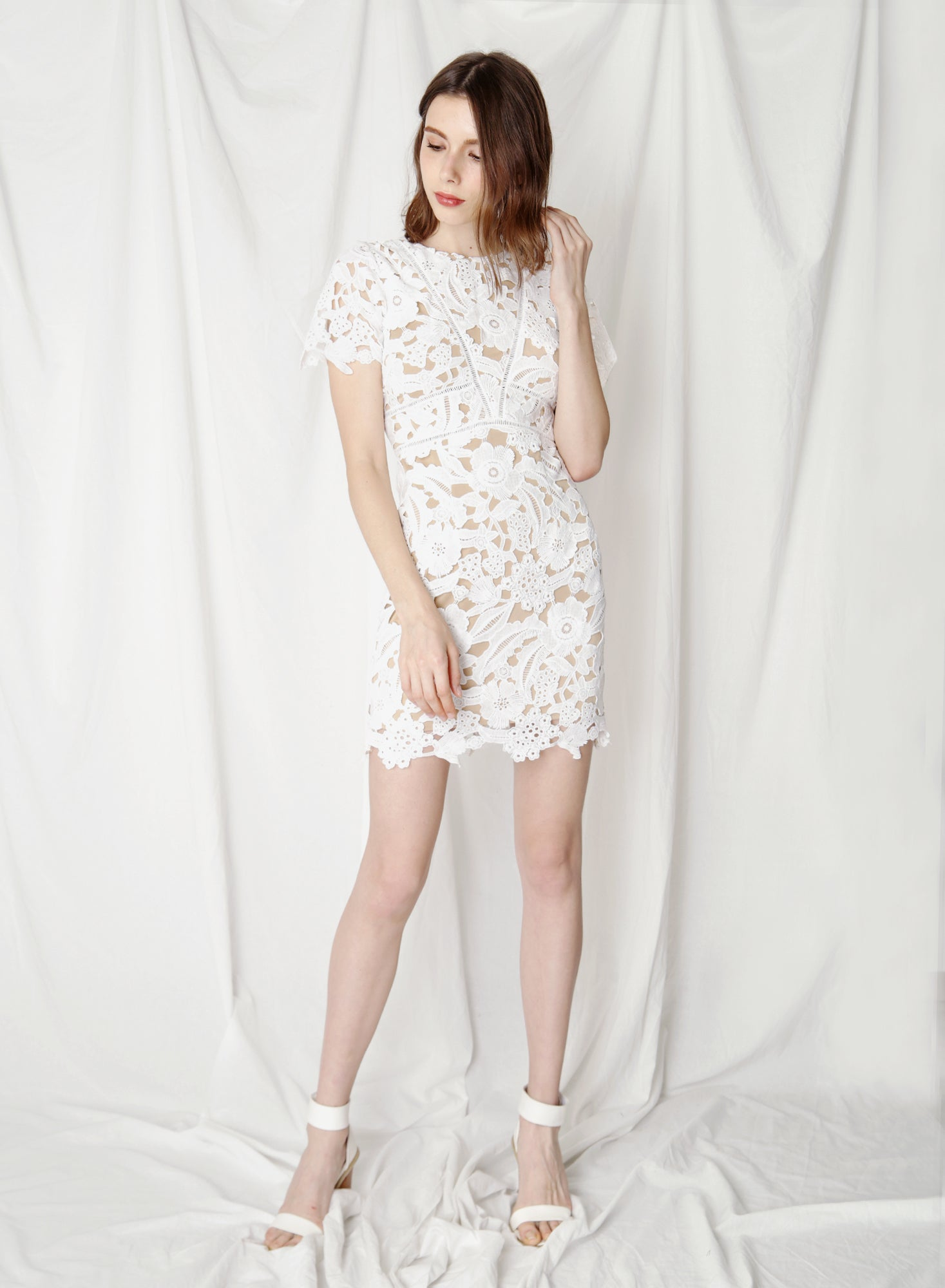 Flair Fitted Guipure Dress (White)