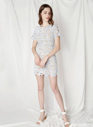 Flair Fitted Guipure Dress (Sky) at $ 29.75 only sold at And Well Dressed Online Fashion Store Singapore