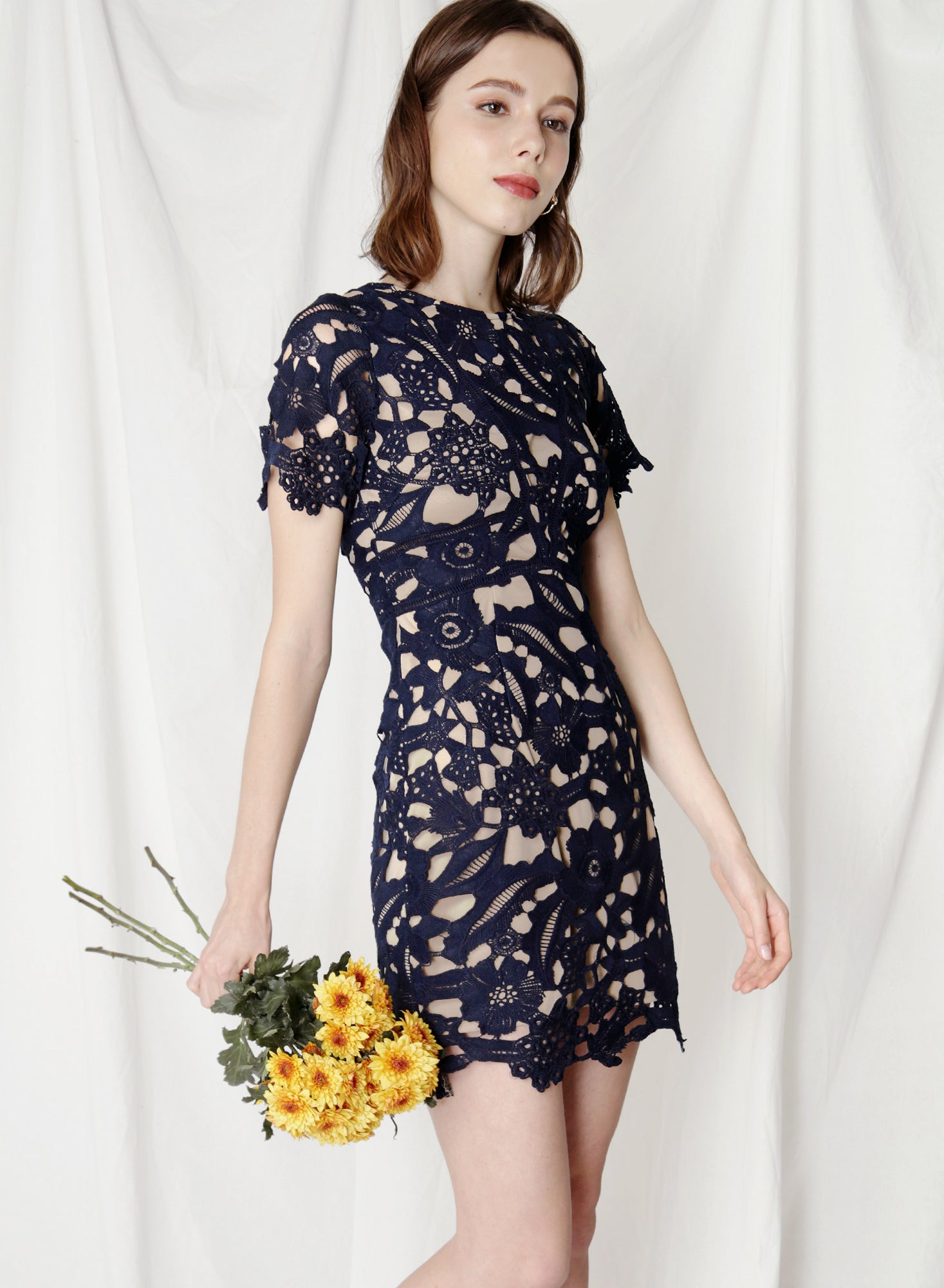 Flair Fitted Guipure Dress (Navy) - And Well Dressed