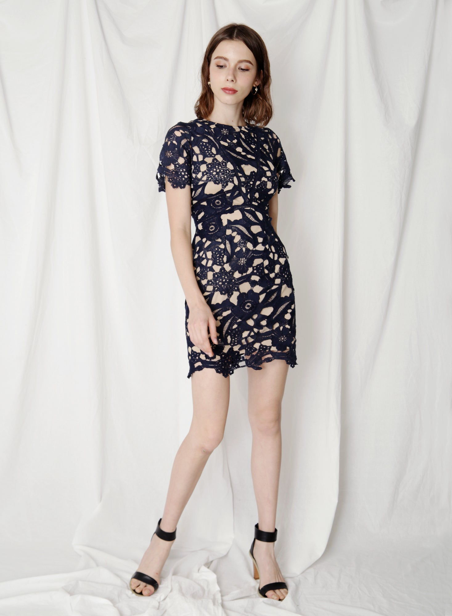 Flair Fitted Guipure Dress (Navy)