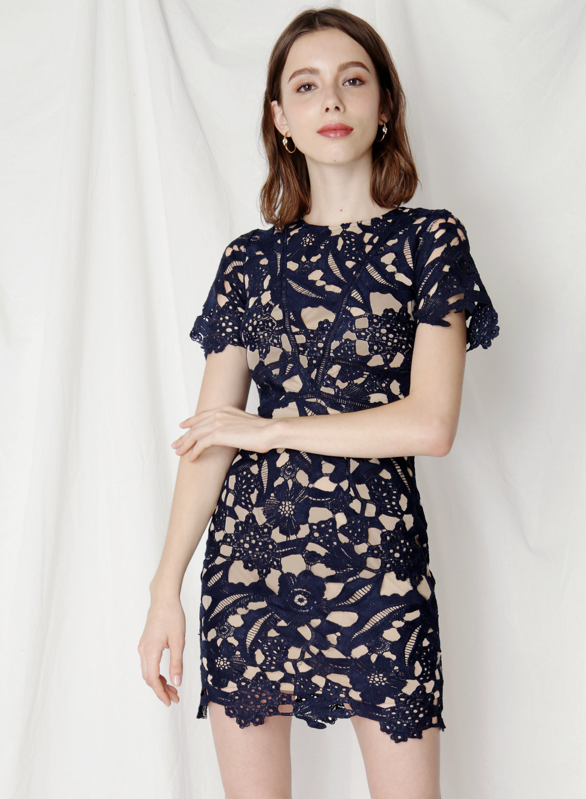 Flair Fitted Guipure Dress (Navy) at $ 42.50 only sold at And Well Dressed Online Fashion Store Singapore