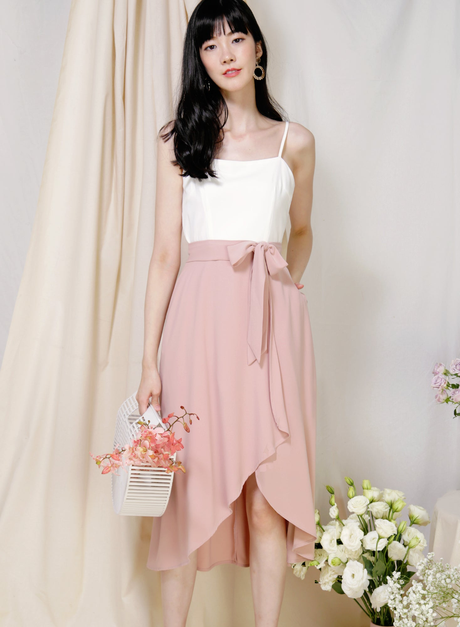 Memory Contrast Wrap Hem Dress (White/Blush) at $ 43.50 only sold at And Well Dressed Online Fashion Store Singapore