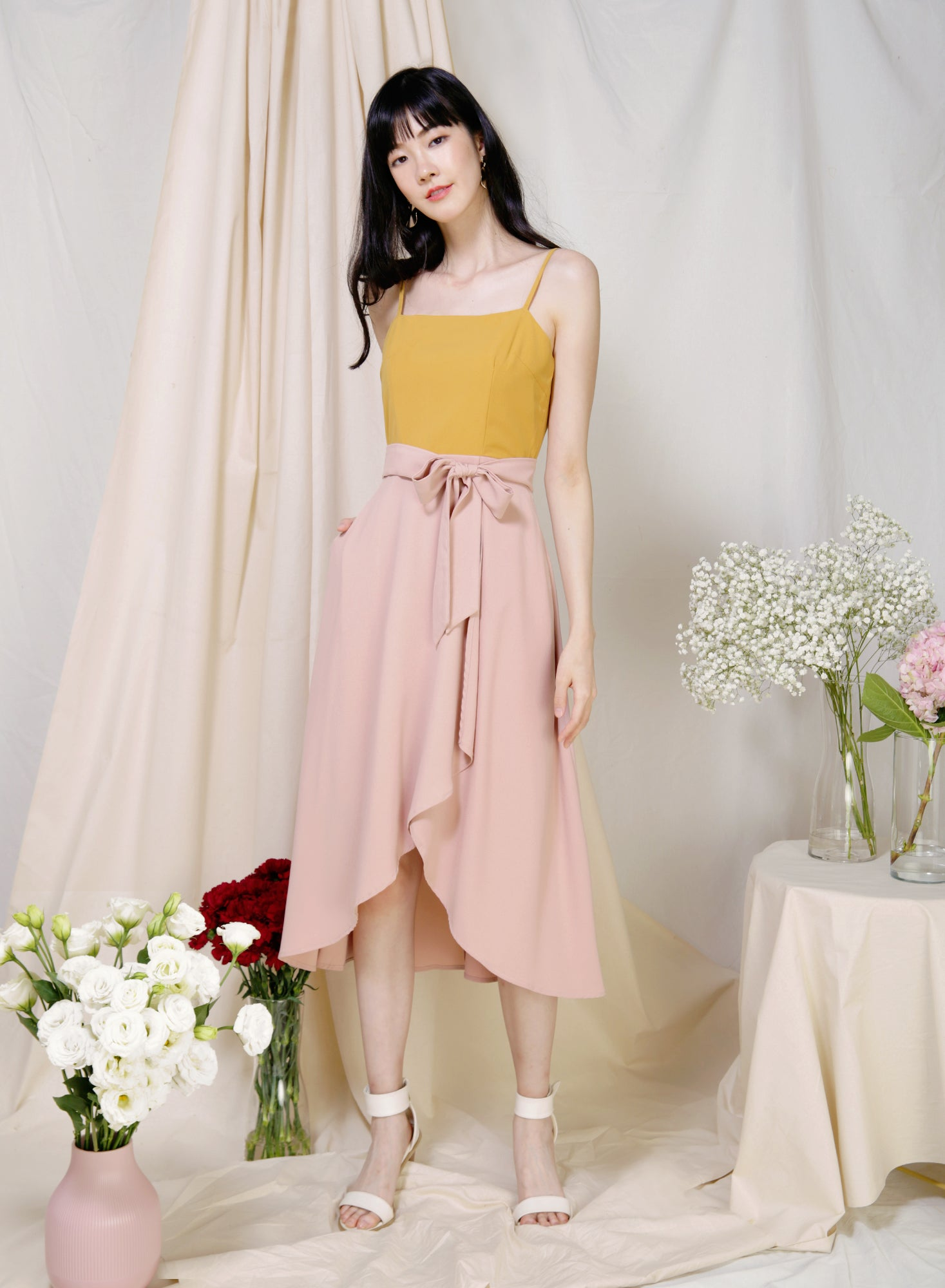 Memory Contrast Wrap Hem Dress (Marigold/Blush) at $ 43.50 only sold at And Well Dressed Online Fashion Store Singapore