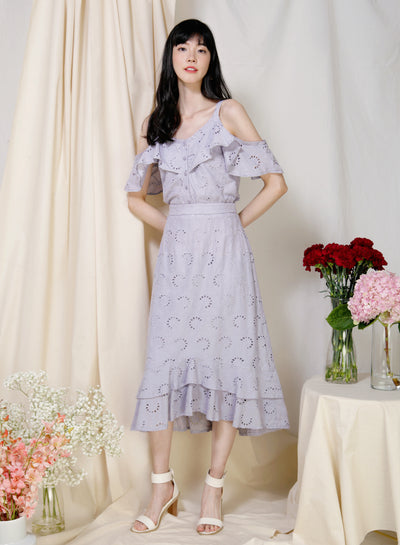 Wistful Double Hem Eyelet Skirt (Lilac Grey) at $ 38.50 only sold at And Well Dressed Online Fashion Store Singapore