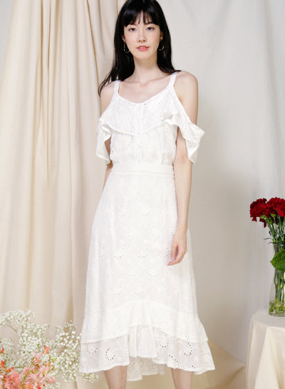 Wistful Double Hem Eyelet Skirt (White) at $ 38.50 only sold at And Well Dressed Online Fashion Store Singapore