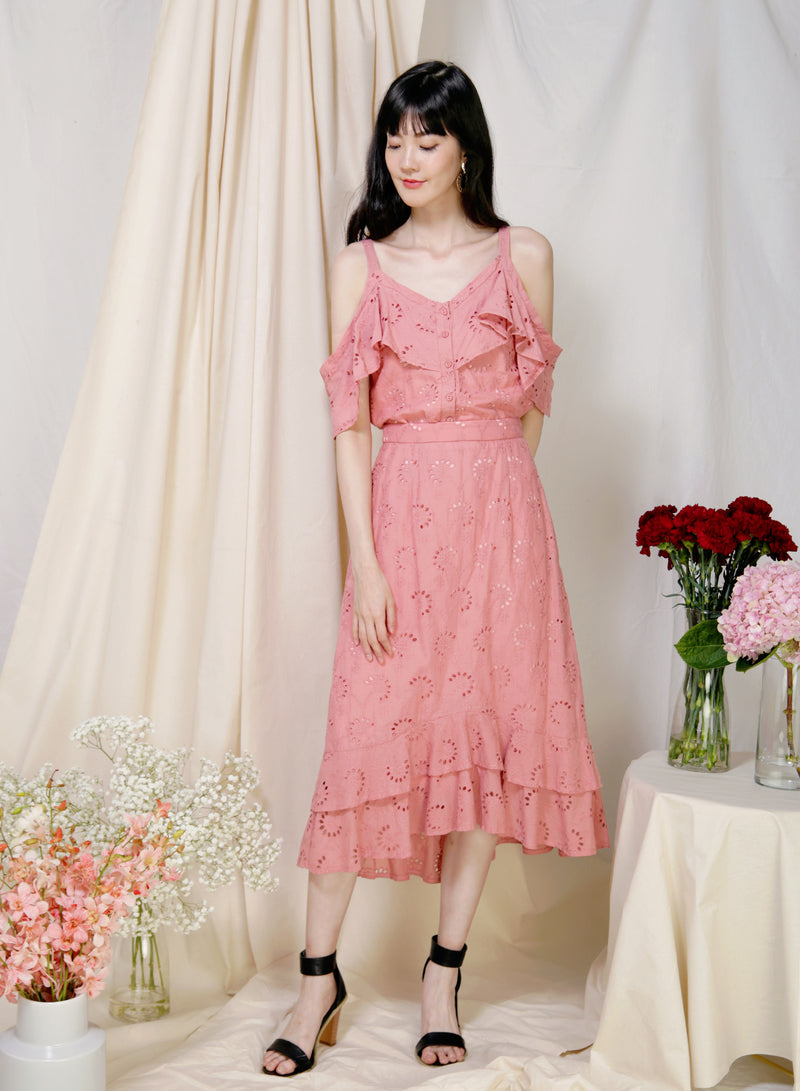 Adrift Cold Shoulder Eyelet Top (Rose) at $ 36.00 only sold at And Well Dressed Online Fashion Store Singapore