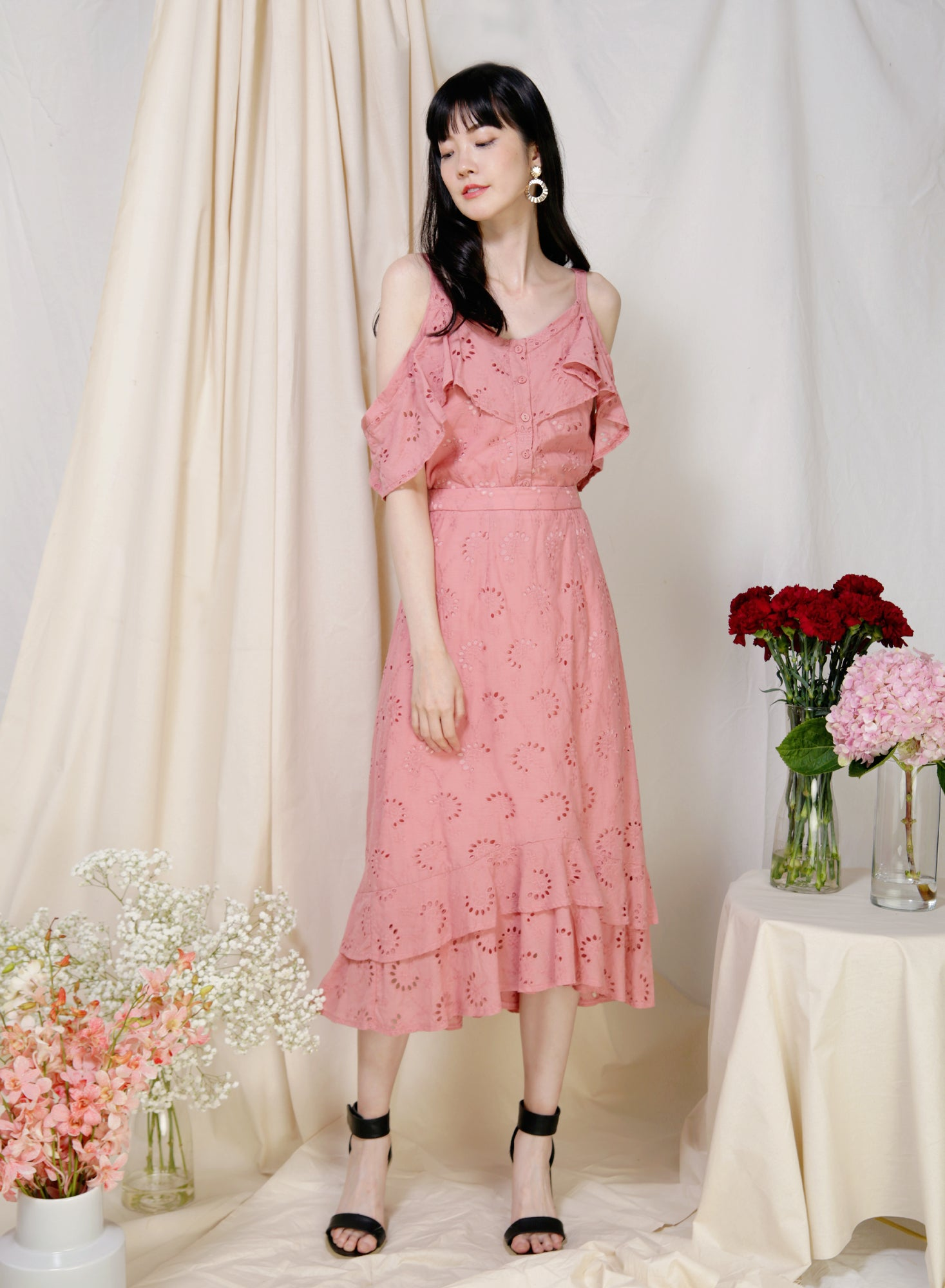 Wistful Double Hem Eyelet Skirt (Rose)