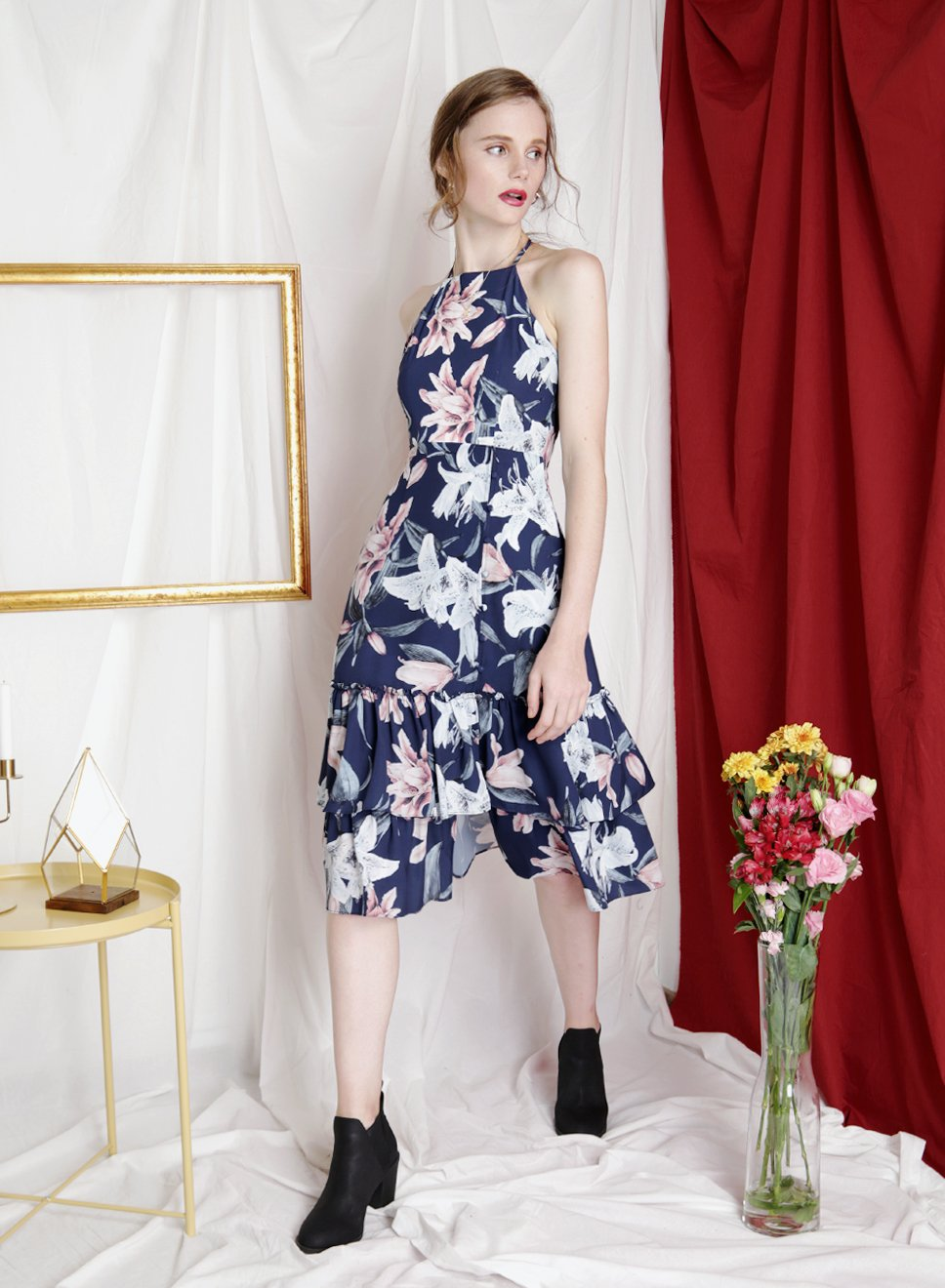 JUBILANT Tiered Hem Floral Dress (Navy) at $43.50 only sold at And Well Dressed Online Fashion Store Singapore
