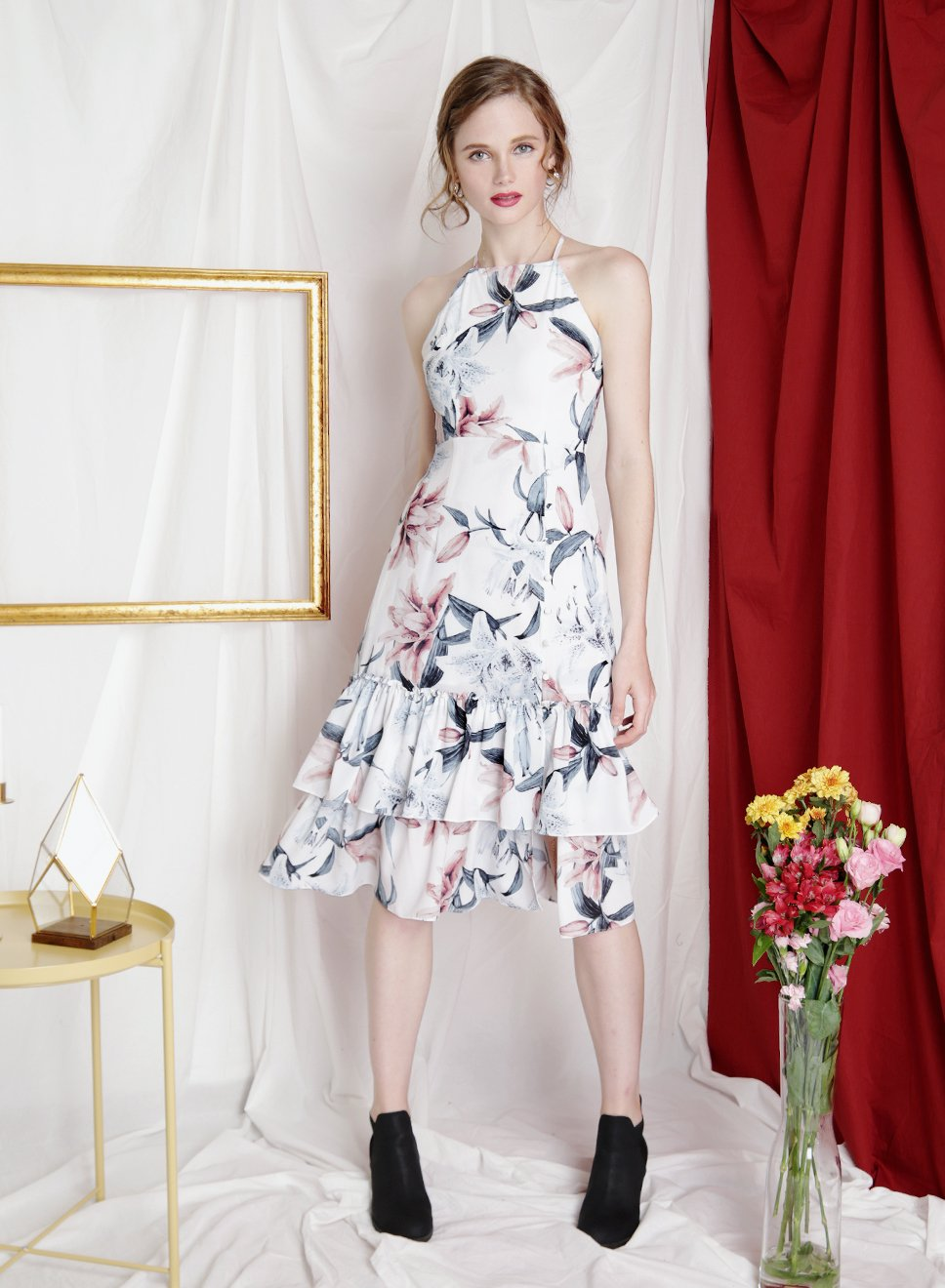 JUBILANT Tiered Hem Floral Dress (White) - And Well Dressed