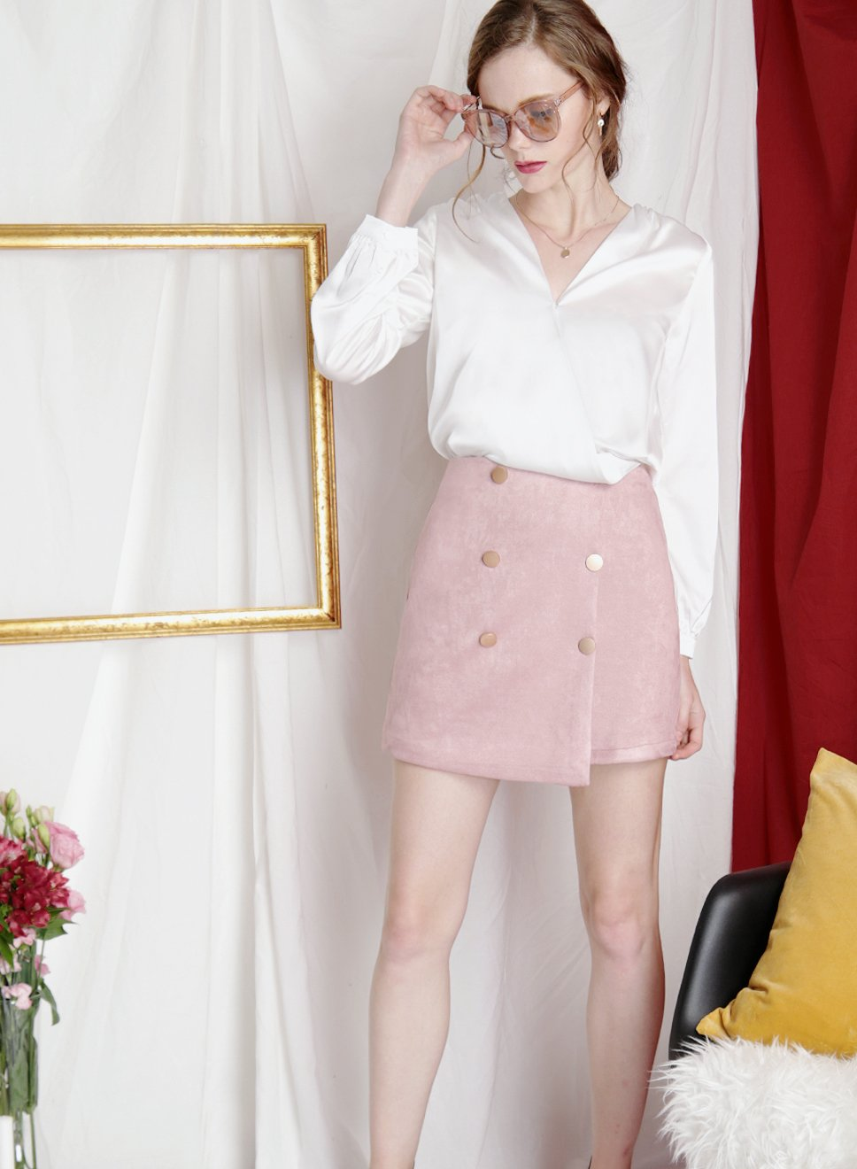 SHIMMER Silk Wrap Top (White) at $31.50 only sold at And Well Dressed Online Fashion Store Singapore
