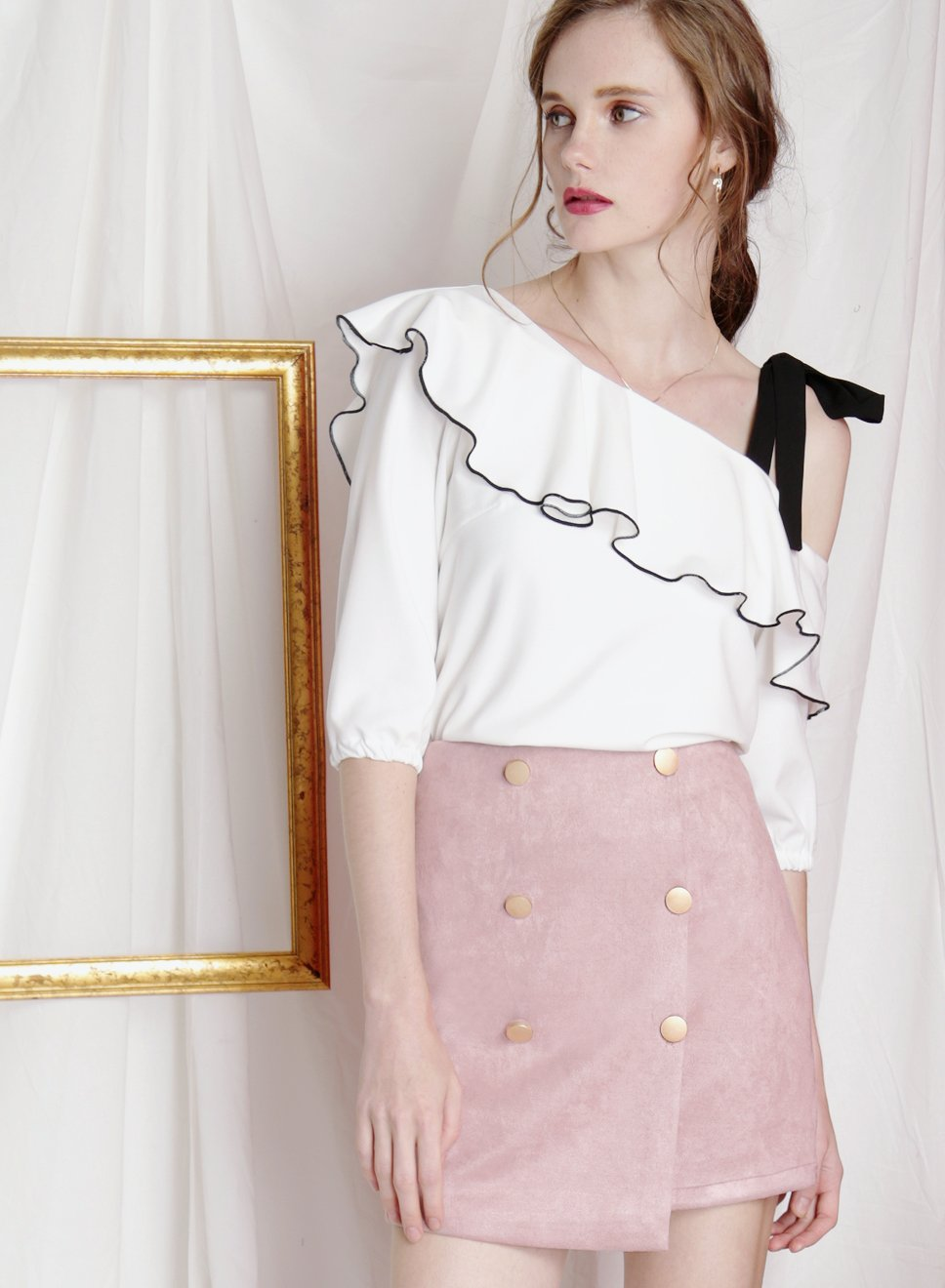 ADORE buttoned suede skirt (Mauve) - And Well Dressed